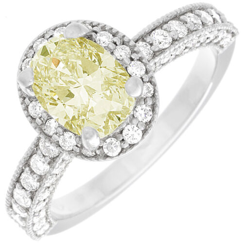 Fancy Yellow GIA Certified 2.25 CT Oval Shape Diamond Engagement Ring 18k Gold