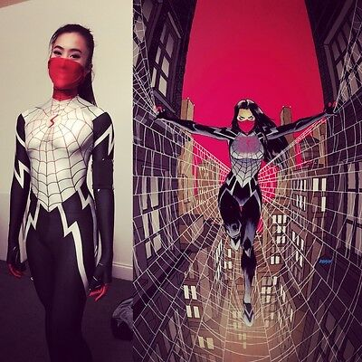NEW 2017 Lady Silk Spiderman With Mask Cindy Moon Halloween Cosplay Costume](New Halloween Costumes 2017 For Women)