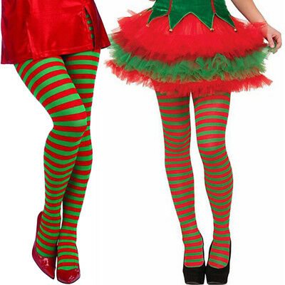 Women Christmas Elf Tights Striped Fancy Tights Adult Costume Knee Stockings US - Women Elves