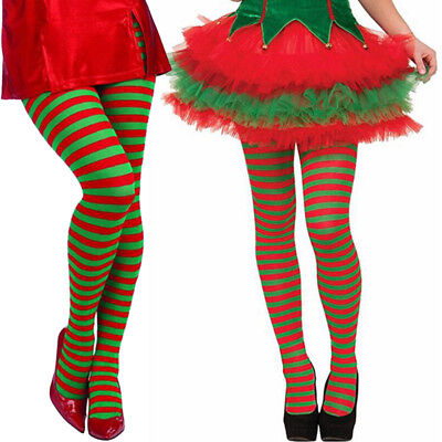 Elf Tights Striped Red And Green Christmas Fancy Dress Costume Knee Stockings US (Red And Green Elf Tights)