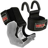 MRX Power Weight Lifting Training Gym Hook Grips Straps Wrist Support Lift Black