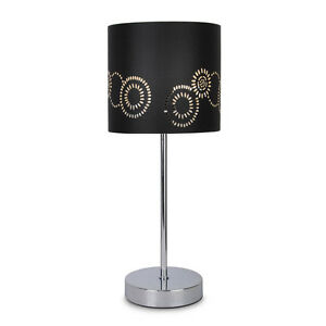 Modern silver chrome touch table lamp black laser cut shade bedside light lamps ebay - Black touch lamps bedside ...