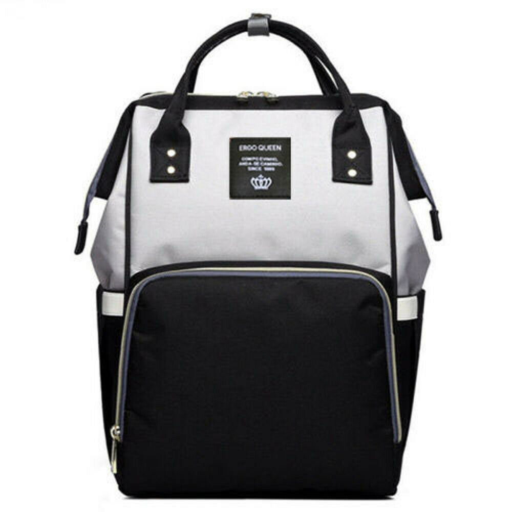Ergo Diaper Bag Backpack Mummy Maternity Nappy Large Capacity Baby Bag Travel  Black Gray