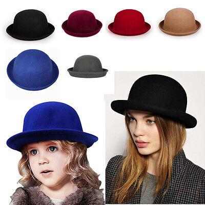 Winter Warm  Wool Adult / Kid Fold Brim Billycock Round Crown Bowler Derby Hat - Kids Derby Hats