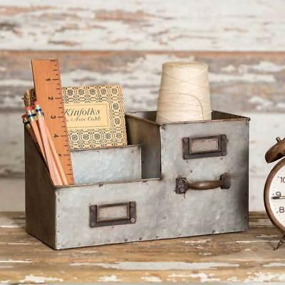 Three Metal Bin Desk Organizer Office Supplies Caddy Storage Vintage Rustic