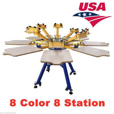 Us Stock 8 Color 8 Station Screen Printing Machine Press T-shirt Equipment Diy