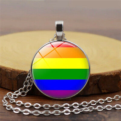 Gay Pride Necklace Gay Sex LGBT Silver With Rainbow Love Cabochon Glass Jewelry
