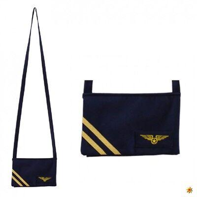 Stewardess Kostüm Blau (Tasche Stewardess blau Umhängetasche Flugbegleiterin Kostüm Fasching Karneval)