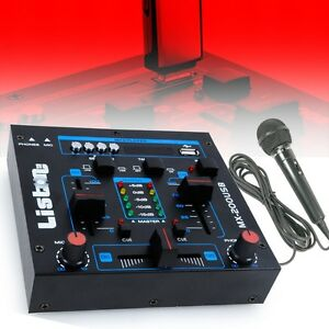 Kompakt Mischpult DJ PA USB MP3 4-Kanal Mixer Mikrofon Talkover Crossfader