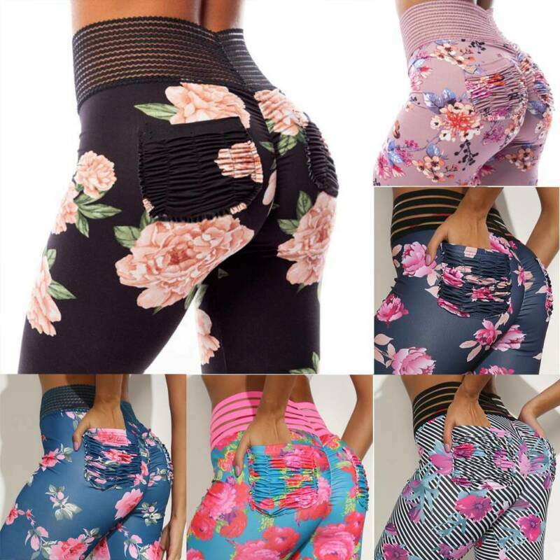 Women Floral Yoga Pants Compression Leggings High Waist Workout Fitness Trousers
