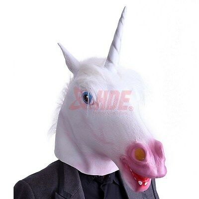 Unicorn Horse Head Mask Latex Halloween Party Costume Animal Fun Theater Prop](Unicorn Head Costume)