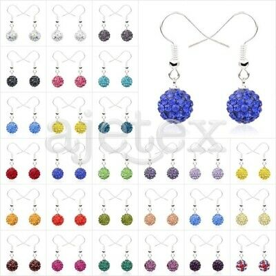1 Pair Rhinestone Crystal 10mm Disco Ball Beads Dangle Earrings Gift 37 Color (Colored Disco Ball)