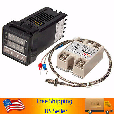 Lcd Pid Rex-c100 Temperature Controller Ssr 40a K Thermocouple Heat Sink K2p7