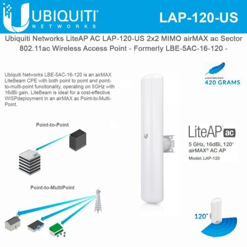 Ubiquiti Networks LAP-120-US LiteAP AC 2x2 MIMO airMAX ac Sector Access Point
