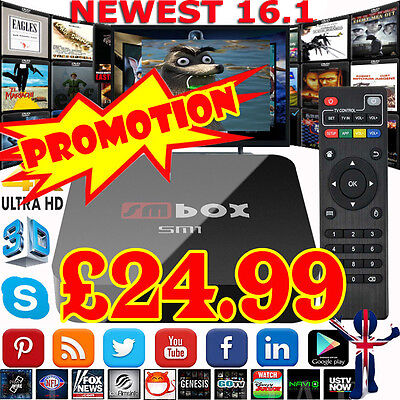 New 2017 Android Smart TV Box WIFI HDMI Quad Core 4K Ultra Sports Movies HD UK