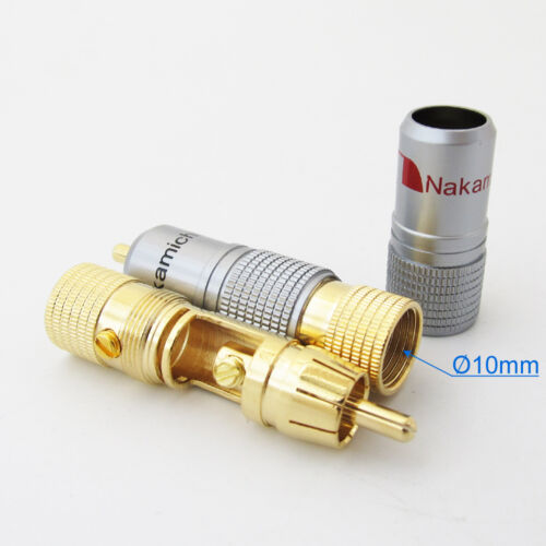 10pcs High Quality Gold Plated Nakamichi RCA Plug Lock Free solder A/V connector