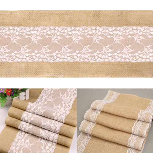 5X Natural Burlap Table Runner w// Flower Lace Hessian Jute Rustic Wedding Decor