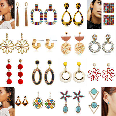 Boho Women Crystal Pearl Acrylic Geometric Statement Drop Earrings Wedding Gifts