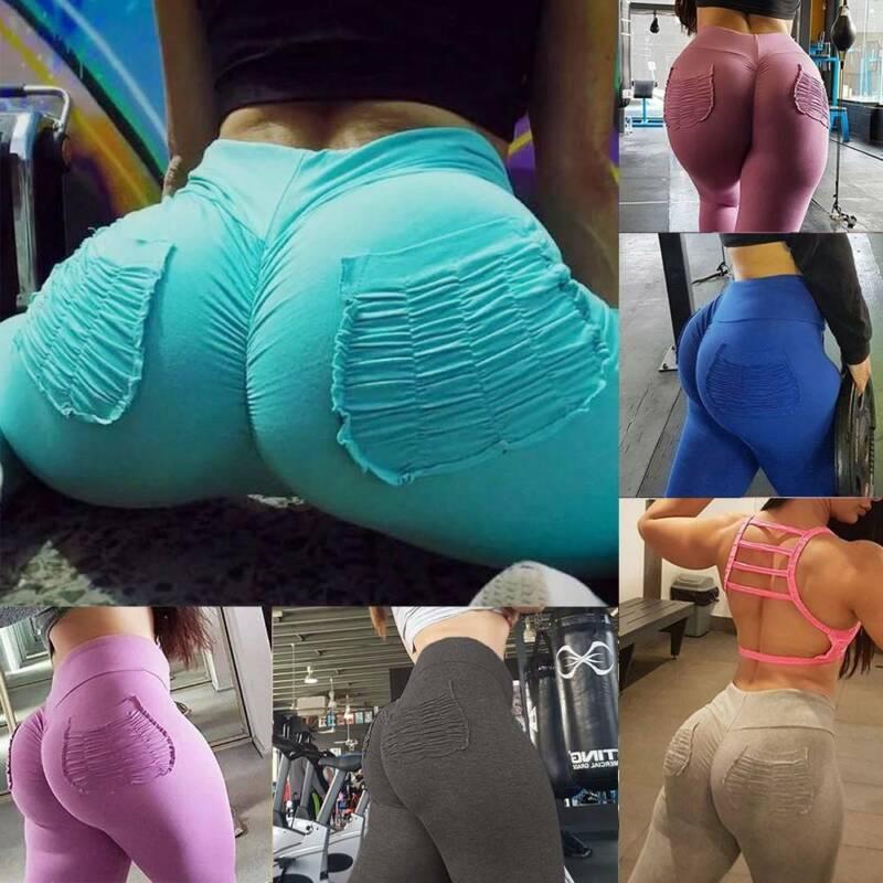 Women Scrunch Yoga Pants Push Up Sports Fitness High Waist W