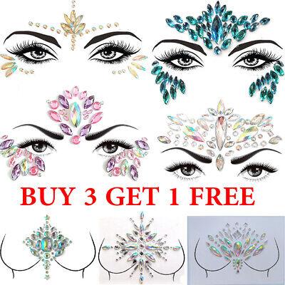 Adhesive Temporary Tattoo Sticker Face Gems Jewels Festival Body Glitter Crystal ()