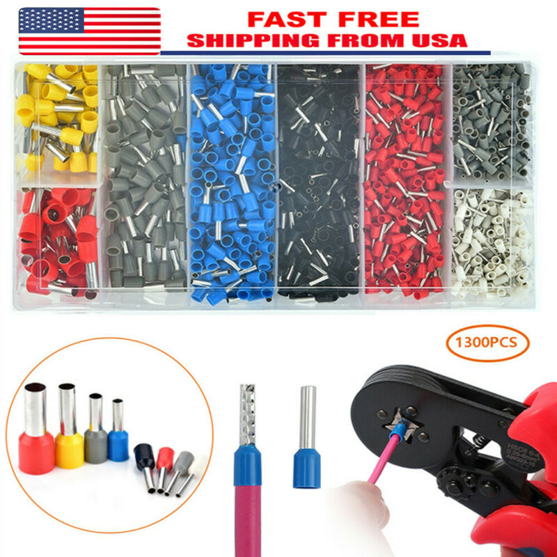 1300X Assorted Insulated Electrical Wire Lugs Ferrule End Terminal Connector Kit