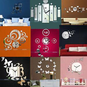3d Modern Design Frameless Large Wall Clock Diy Home Decor