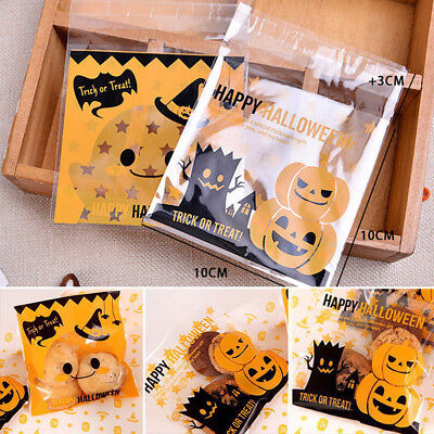 100pcs Plastic Halloween Cellophane Cookie Candy Bags Party Gift Self Adhesive