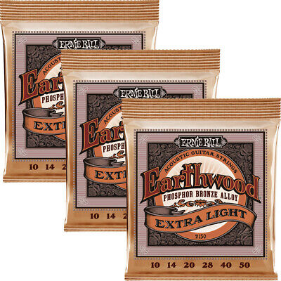 3 Sets Ernie Ball 2150  Acoustic Guitar Strings Extra Slinky 10-50 3 Pack