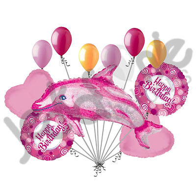 11 pc Holographic Pink Dolphin Balloon Bouquet Party Happy Birthday Luau Ocean](Dolphin Balloon)