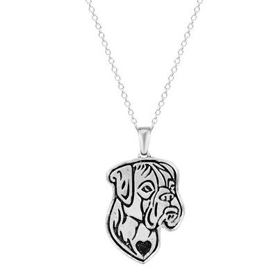 Boxer Dog Etched Silver Chain Pendant Dog Necklace