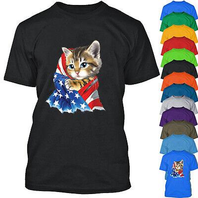 American Flag Kitty Man Tshirt Cat in American Flag Tee Shirt KITTY with FLAG (Cat With American Flag)