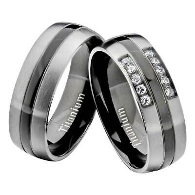 Titanium Black Gray Round CZ His & Hers Wedding Band Engagement Ring Sets mw Comfort Fit Solitaire Setting