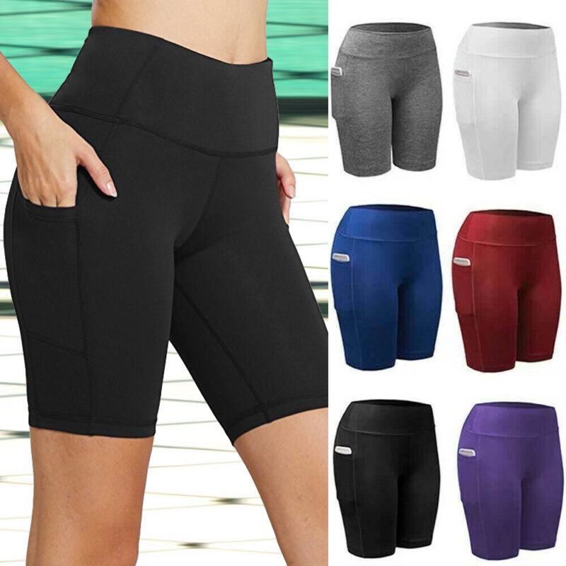 Women Compression Yoga Shorts High Waist Running Sports Hot