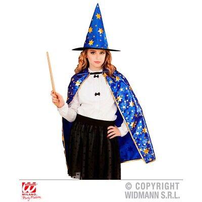 Zauberer Umhang Und Hut Blau Mit Goldenen Sternen Für Kostümzubehör - Wizard