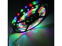 LED STRIP LIGHTS MULTICOLOUR,REMOTE CONTROL & UK PLUG SMD 50/50 3M TAPE IP65 RGB
