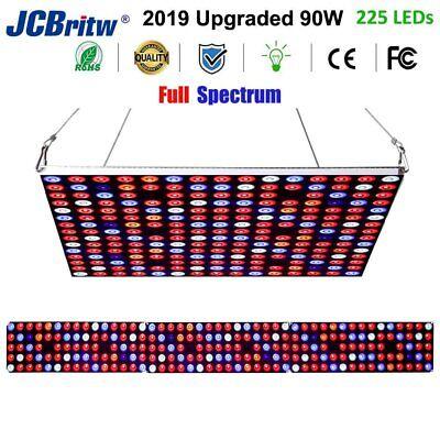 JCBritw LED Grow Light 225 LEDs Growing Lamp 90W Full Spectrum Dimmable w/ Timer 90w Led Grow Light