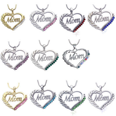 Heart Mom Necklace Mothers Day Birthday Gift For Wife Mom Crystal Gifts Fashion
