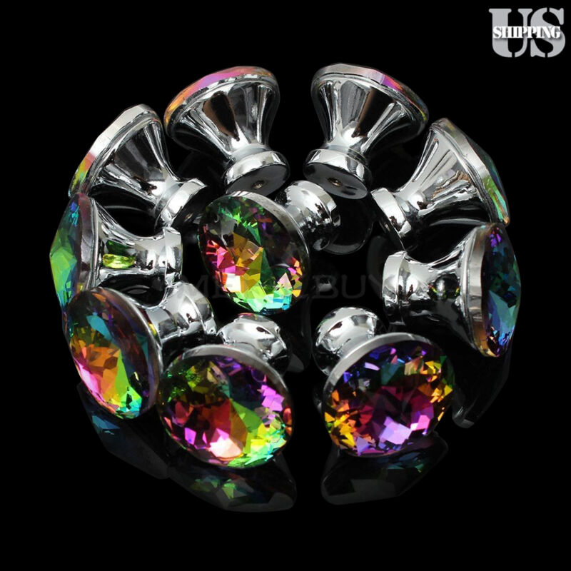 Diamond Door Drawer Pull Handles Colorful Crystal Glass Cabinet Knobs 10PCS Pack