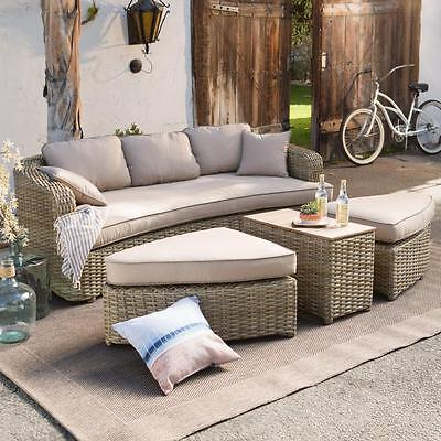 Outdoor All Weather Wicker Sofa Beige Daybed Sectional Set Ottomans Table Patio
