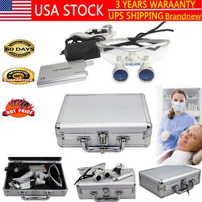 3.5x 420mm Dental Surgical Binocular Loupes Glass Loupe Led Headlight Box Hot