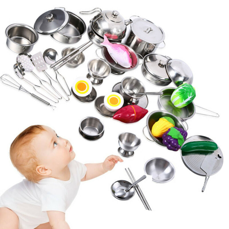 25Pcs Pretend Kitchen Play Set for Kids Stainless Steel Cook
