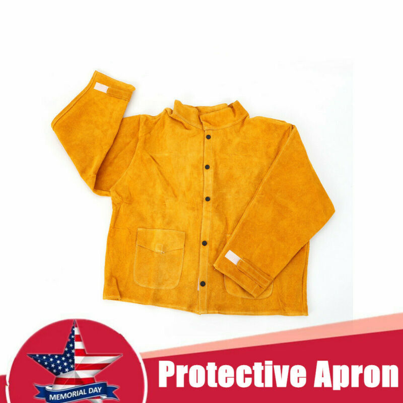 L-XXXL Cowhide Safety Welding Coat Leather Protective Apron Apparel Weld Jacket