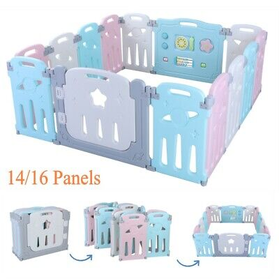 14/16 Panel Baby Safety Play Yards Kids Folding Playpen Activity Center Fence US