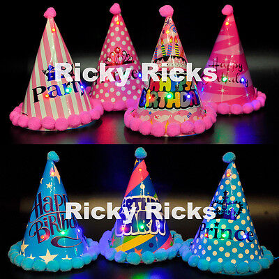 12 Light Up Party Birthday Cone Hats LED Kids Custom Supplies Lighted -
