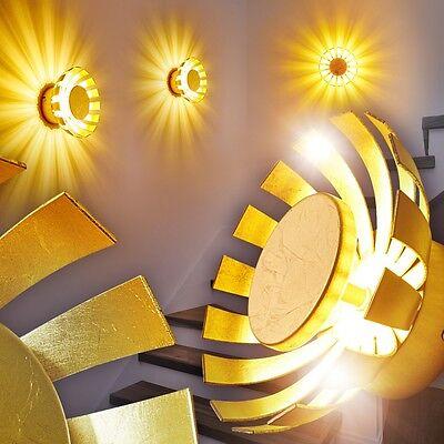 Design LED Flur Leuchten Wandleuchte goldfarben Wand Strahler Wohn Zimmer Lampen