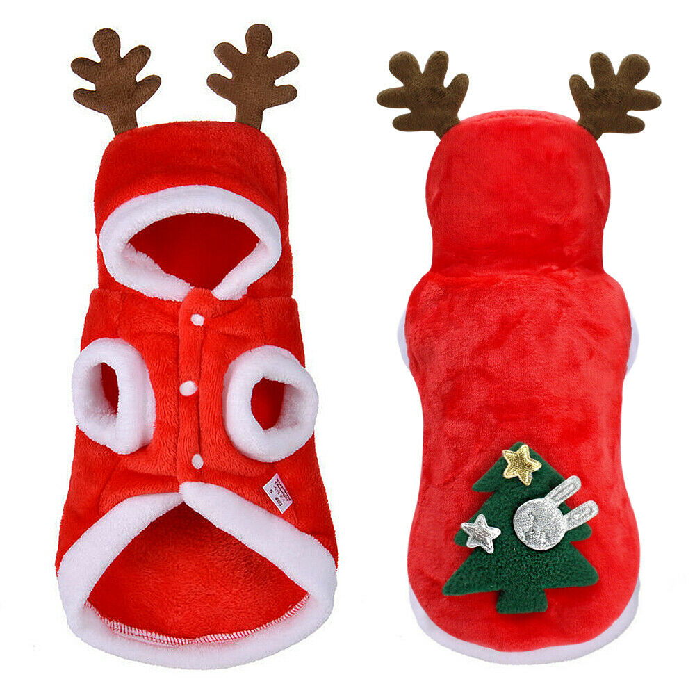 Cat Dog Christmas Outfit Costumes Reindeer Hoodie Jacket Pet Xmas Clothes Coat 12