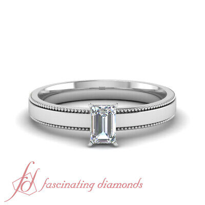1/2 Ct Emerald Cut E-Color Diamond Solitaire Engagement Ring With Milgrain GIA