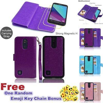 LG K10 2017 K10 (2018) Glitter Hybrid Extra Pocket Stand Purse Wallet Phone (Stand 10 Pockets)