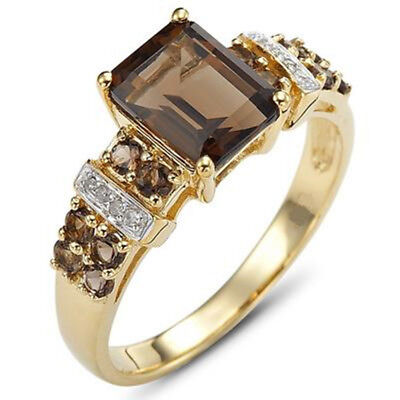 Fashion Women's 18K Gold Filled Wedding Ring With Halo Brown CZ  Gift Size 6-11