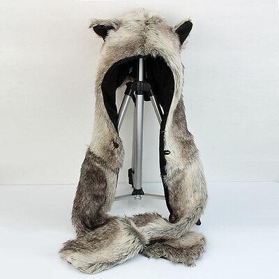 Unisex Faux Fur Gray wolf Animal Hood Hoodie Hat 3 in 1 Scar